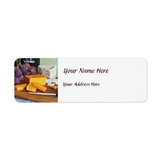 Bread Grapes Cheddar and Blue Cheeses Still Life Return Address Label