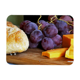 Bread Grapes Cheddar Cheese Still Life Rectangular Photo Magnet