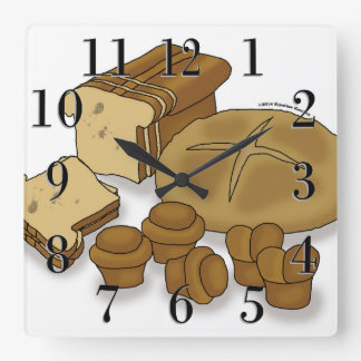 Bread Loaves and Rolls Drawing Square Wall Clock
