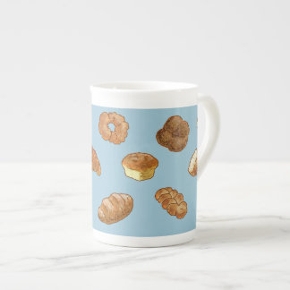 Bread pattern bone china mug - customizable