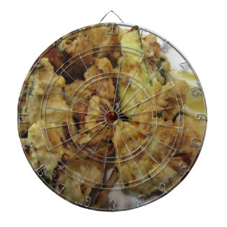 Breaded and fried crunchy vegetables with lemon dartboard