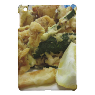 Breaded and fried crunchy vegetables with lemon iPad mini cover