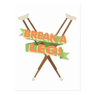 Break A Leg Crutches Postcard
