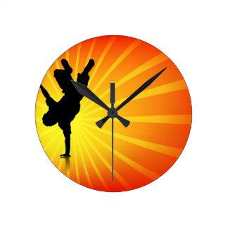 Break Dancing Round Wall Clocks