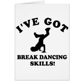 Break dancing designs greeting card