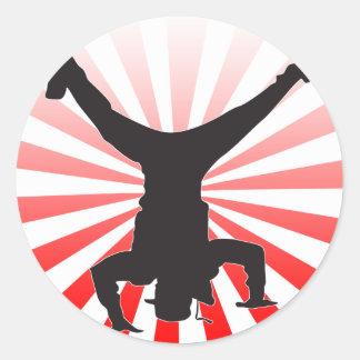 break dancing explosion classic round sticker