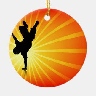 Break Dancing Round Ceramic Ornament