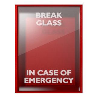 Break In Case Of Emergency Red Box Postcard