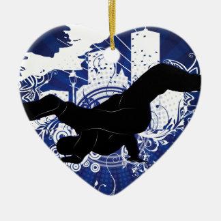 Breakdance Ceramic Heart Ornament