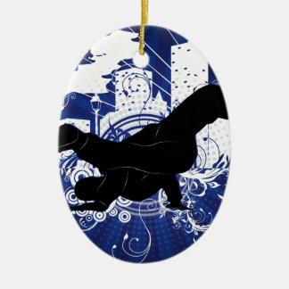 Breakdance Ceramic Oval Ornament