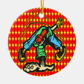Breakdancing Style Round Ceramic Ornament
