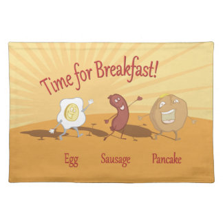 Breakfast egg sausage and pancake napkin place mats