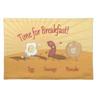Breakfast egg sausage and pancake napkin placemat