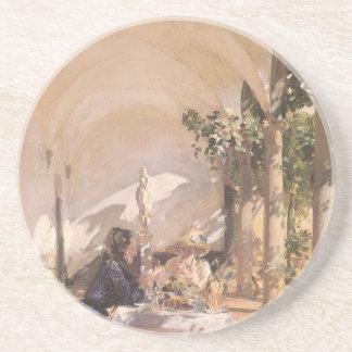Breakfast in Loggia by Sargent, Vintage Victorian Beverage Coaster