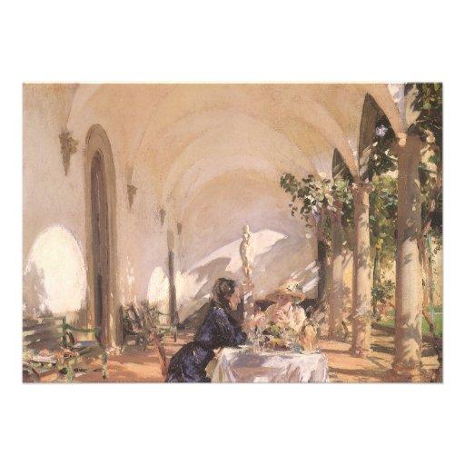 Breakfast in Loggia by Sargent, Vintage Victorian Custom Invite