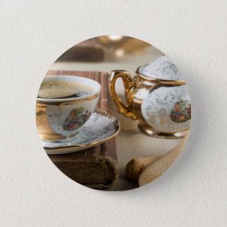 Breakfast in vintage style - espresso and savoiard 2 inch round button