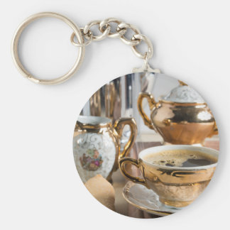 Breakfast in vintage style - espresso and Savoiard Basic Round Button Keychain