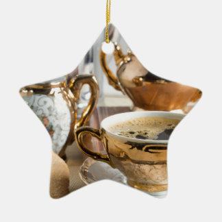 Breakfast in vintage style - espresso and Savoiard Ceramic Ornament
