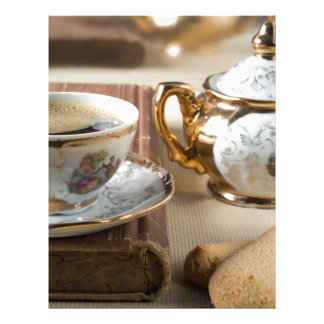 Breakfast in vintage style - espresso and savoiard letterhead
