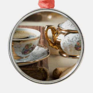 Breakfast in vintage style - espresso and savoiard metal ornament