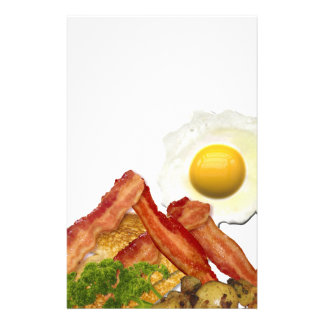 Breakfast Landscape Bacon Eggs Custom Stationery