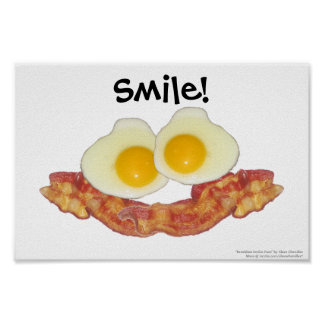 Breakfast Smilie Face by Clara Chandler Poster