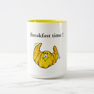 Breakfast time and croissant ! Two-Tone coffee mug