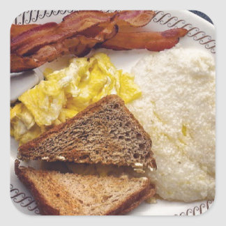 Breakfast Time - Bacon Eggs Toast Grits Square Sticker