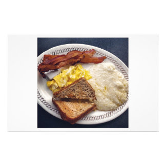 Breakfast Time - Bacon Eggs Toast Grits Stationery Design