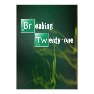 "Breaking 21 Twenty First Birthday Party 4.5"" X 6.25"" Invitation Card"