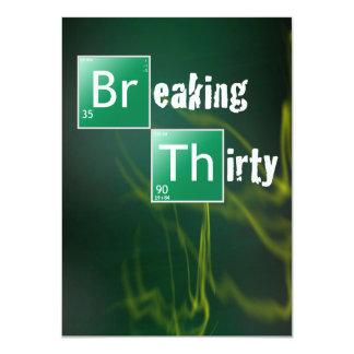 "Breaking 30 Thirtieth Birthday Party 4.5"" X 6.25"" Invitation Card"