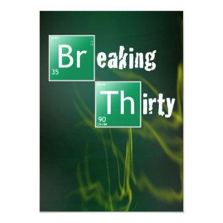 "Breaking 30 Thirtieth Birthday Party 5"" X 7"" Invitation Card"