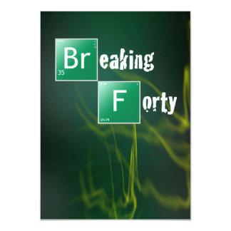 "Breaking 40th Birthday Party 4.5"" X 6.25"" Invitation Card"