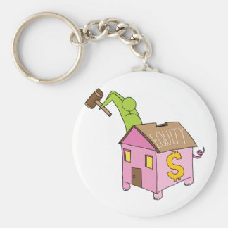 Breaking Home Equity Piggy Bank Basic Round Button Keychain