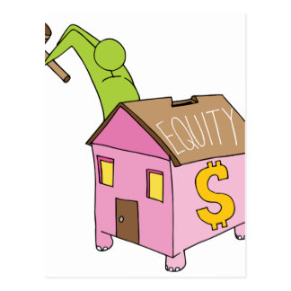 Breaking Home Equity Piggy Bank Postcard