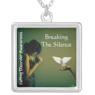Breaking the Silence©-Eating disorder awareness2 Silver Plated Necklace