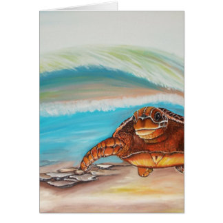 Breaking the Water's Crest Sea Turtle Card