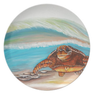 Breaking the Water's Crest Sea Turtle Plate