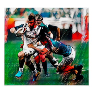 Breaking Through - Rugby Watercolour Art Print