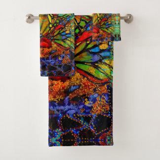 Breaking Thru Butterfly Artwork by Deprise Bath Towel Set