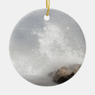 Breaking waves on rocks on the Adriatic Sea. Round Ceramic Ornament