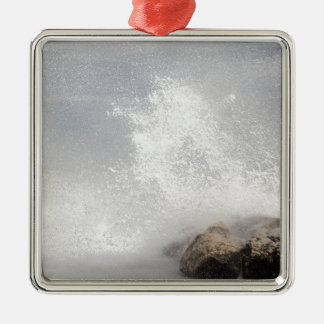 Breaking waves on rocks on the Adriatic Sea. Silver-Colored Square Ornament