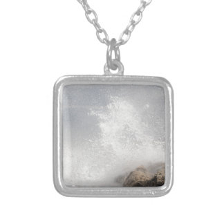 Breaking waves on rocks on the Adriatic Sea. Silver Plated Necklace