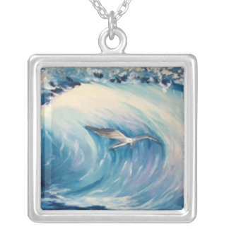 Breaking waves with seagull silver plated necklace