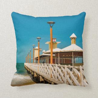 Breakwater Walkway at Fortaleza Beach Throw Pillow