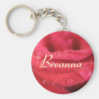 Breanna Red Rose petals Name Gift Keychain