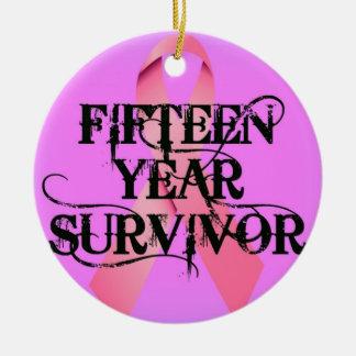 Breast Cancer 15 Year Survivor Ceramic Ornament