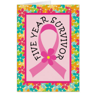 Breast Cancer 5 Year Survivor Pink Ribbon Card