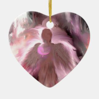 Breast Cancer Angel Ceramic Ornament
