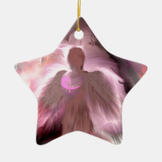 Breast Cancer Angel Ceramic Star Ornament